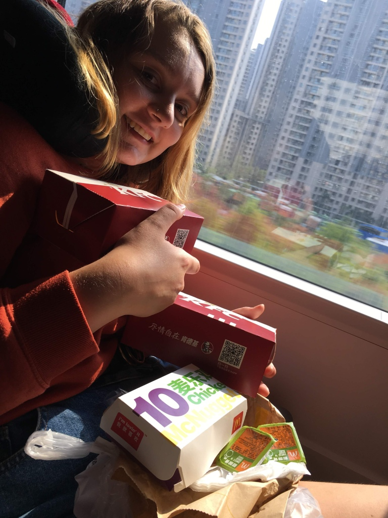 McDonalds and KFC takeaway on train in China